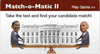 A B C News McCain and Obama Match Maker Questions to determine your candidate