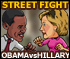 Obama versus Hillary street fight cartoon
