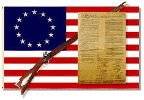 image of the 1776 Flag a rifle and the Constitution